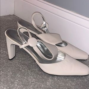 Bellini White Leather Ankle Strap Heel 9